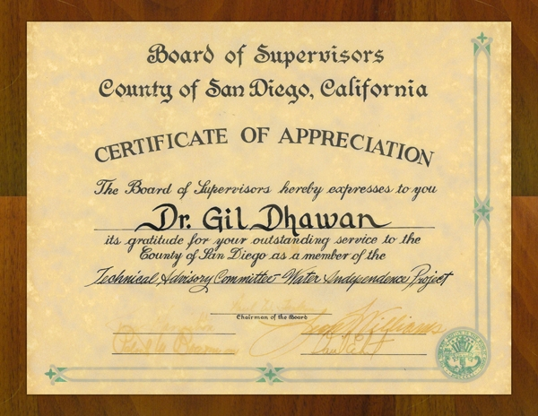 San Diego County Certificate of Appreciation Applied Membranes