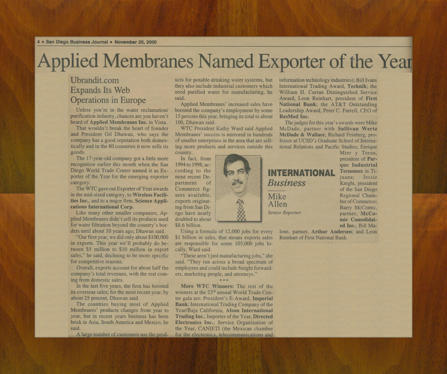 Applied Membranes Exporter of the Year Award