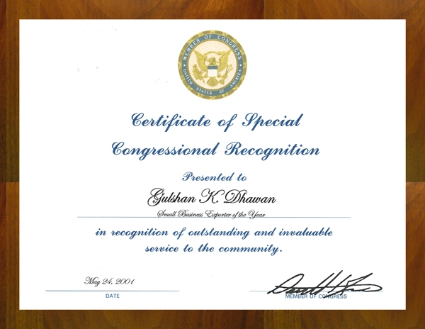 Applied Membranes Certificate of Special Congressional Recognition