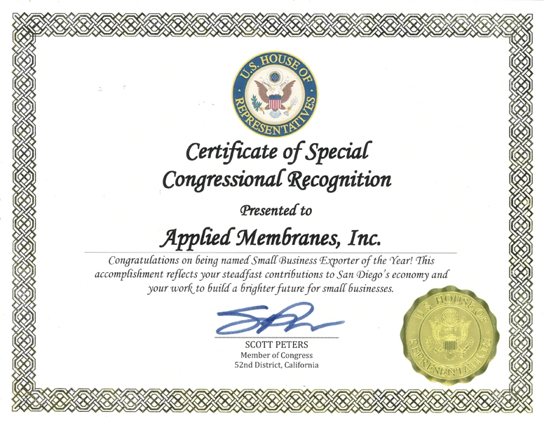 Applied Membranes, Inc  Awards and Recognitions | Applied