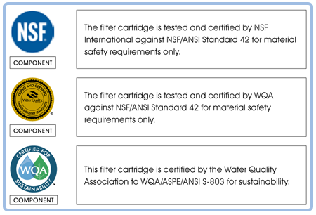 KX MatriKX Filters are Certified by NSF and WQA
