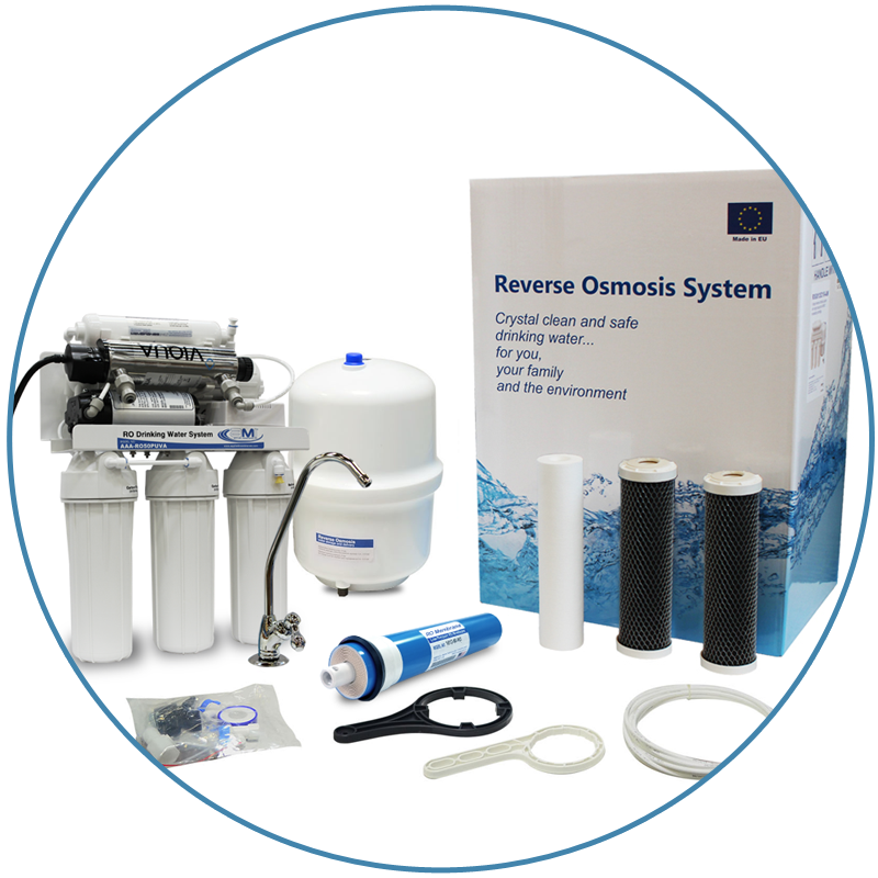 100 GPD Home RO with UV Ultraviolet Disinfection System and Feed Booster Pump for Undersink